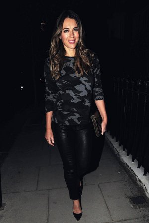 Elizabeth Hurley out for dinner