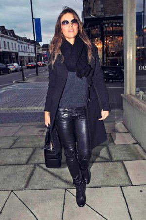 Elizabeth Hurley shopping for antiques in London