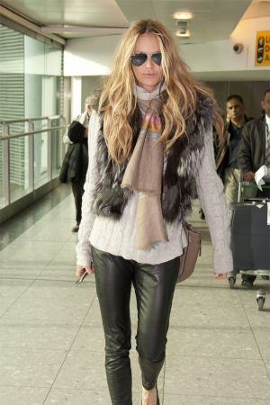 Elle Macpherson arrives at Heathrow Airport from LA