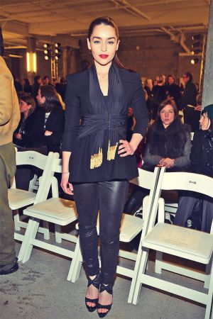Emilia Clarke Altuzarra Fall 2013 Fashion Show in New York, February 9, 2013