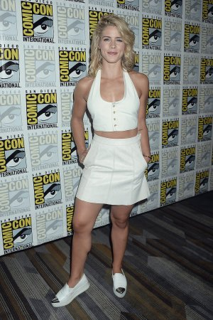 Emily Bett Rickards attends Arrow Press Line