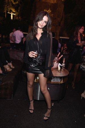 Emily Ratajkowski attends Perrier-Jouet Hosts Intrigue Nightclub One-Year Anniversary Party