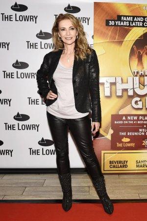 Emma Samms attends Thunder Girls Press Night