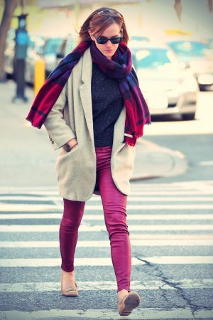 Emma Watson in Red Leather Pants out in New York