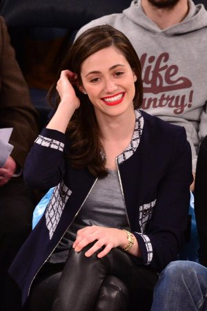 Emmy Rossum at a Knicks vs Mavericks game