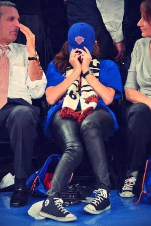 Emmy Rossum attends Oklahoma City Thunder vs New York Knicks
