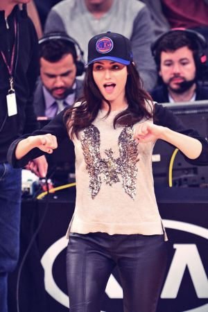 Emmy Rossum attends the Knicks Game in NY