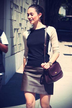 Emmy Rossum leaves a salon in LA