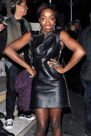 Estelle leaving the Aura club in London