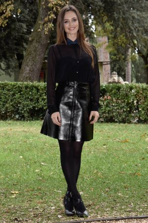 Francesca Cavallin attends the Rocco Schiavone Tv movie photocall