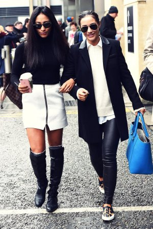 Frankie Bridge and Karen Clifton leaving their hotel in Birmingham