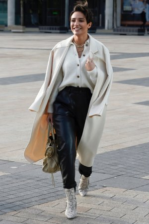 Frankie Sandford seen leaving BBC Breakfast Studio's