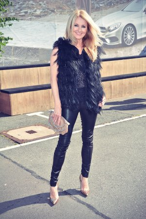 Frauke Ludowig attends Marc Cain Fashion Show Mercedes-Benz Fashion Week