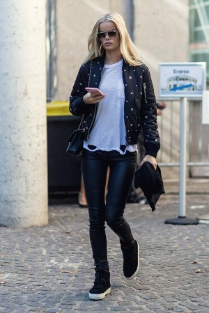 Frida Aasen outside Miu Miu on October 5, 2016 in Paris, France.