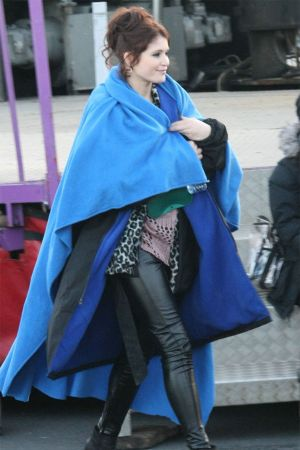 Gemma Arterton on The Set of Byzantium in Hastings, England