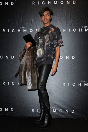 Georgette Eto'o arrives at John Richmond fashion show as part of Milan Fashion Week Menswear