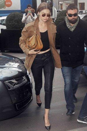 Gigi Hadid arrives at Miu Miu Fashion Show