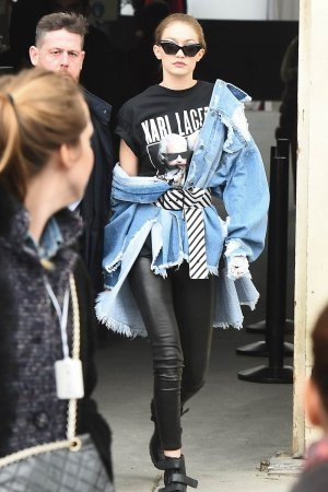 Gigi Hadid is seen arriving at Chanel fashion show