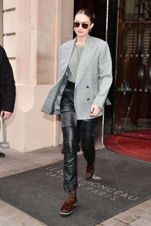 Gigi Hadid leaves her hotel in Paris
