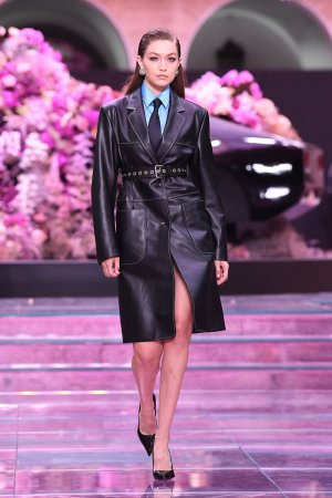 Gigi Hadid on the runway at the Versace fashion show