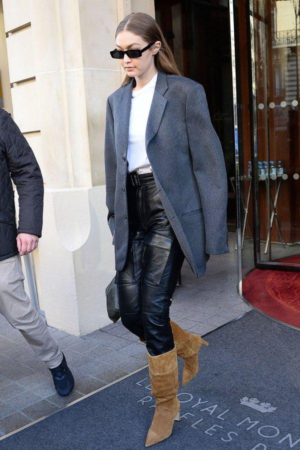 Gigi Hadid seen leaving the Royal Monceau hotel