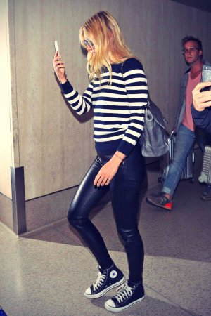 Gwyneth Paltrow arriving on a flight at LAX Airport