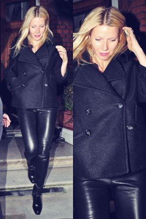 Gwyneth Paltrow in tight leather trousers at a restaurant in Chelsea