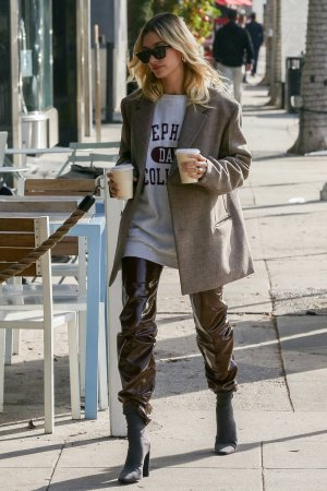 Hailey Baldwin out for a coffee run
