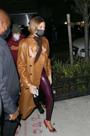 Hailey Baldwin seen at Carbone in New York