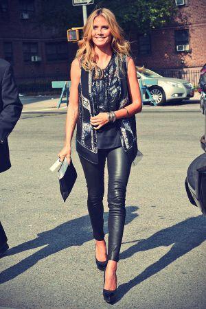 Heidi Klum arrives to the BCBGMAXAZRIA Show in NYC