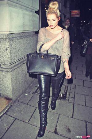 Helen Flanagan at Novikov Restaurant wearing black leather trousers