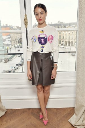 Hiba Abouk attends the Schiaparelli Fashion show