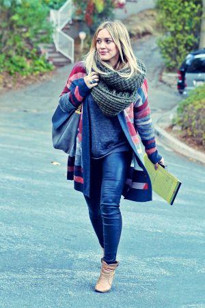 Hilary Duff leaves E Baldi restaurant on Tuesday evening