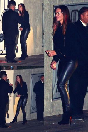 Hilary Swank arrives at Adam Levine Halloween party