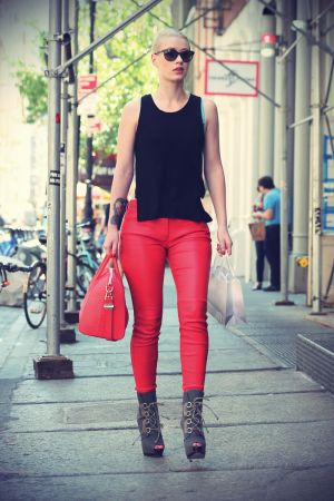 Iggy Azalea wearing red leather pants spotted shopping around at SoHo