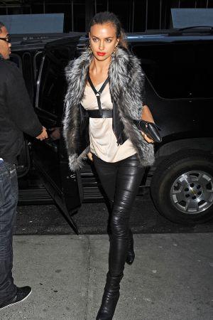 Irina Shayk arriving at Frankie & Johnnie's Steakhouse in NYC