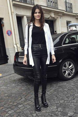 Isabeli Fontana is seen arriving at Balmain fashion show