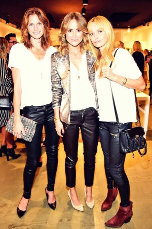 Izabella Scorupco, Anine Bing, Mini Anzem attend the Anine Bing Celebrates Los Angeles Flagship Open