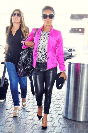 Jada Pinkett Smith departs on a flight at LAX airport