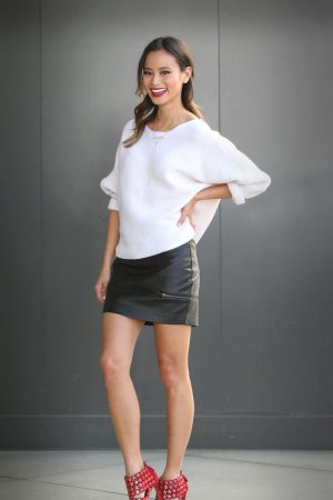 Jamie Chung on the set of Extra in LA