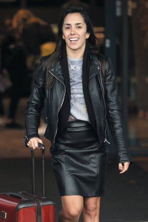 Janette Manrara leaving her hotel for the Movie Week