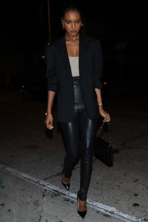 Jasmine Tookes is all smiles arriving for dinner at Craig's