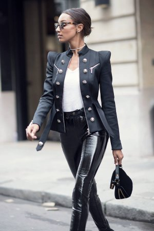 Jasmine Tookes street style at Paris Fashion Week