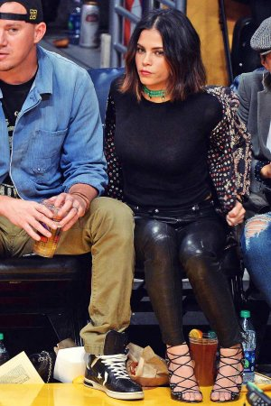Jenna Dewan at the Staples Center to watch the Lakers
