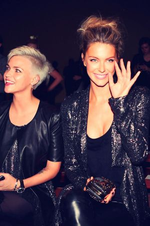 Jennifer Hawkins with Ruby Rose sit in the front row prior
