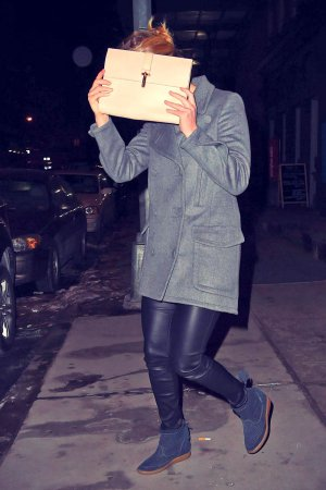 Jennifer Lawrence stepping out of Locanda Verde restaurant