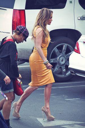 Jennifer Lopez filming American Idol