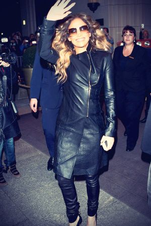 Jennifer Lopez leaves her hotel en route to her concert performance venue