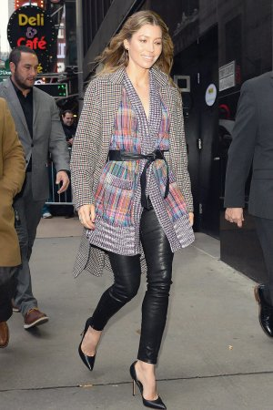 Jessica Biel arrives at 'Good Morning America'