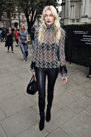 Jessica Hart attends the Christopher Kane show